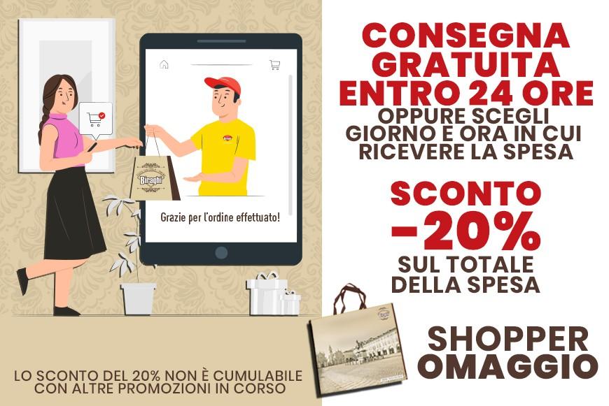 Sconto 20% + Shopper Omaggio + Scegli ora e giorno consegna